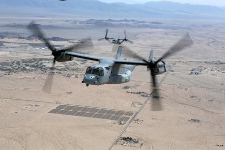 MV-22B Ospreys with Marine Medium Tiltrotor Squadron 163 conduct a training flight from Marine Corps Air Station Miramar, California, April 10. This training operation marks the last time the commanding officer of VMM-163 will participate in a squadron-sized event before relinquishing command. (U.S. Marine Corps photo by Sgt. Melissa Wenger/Released)