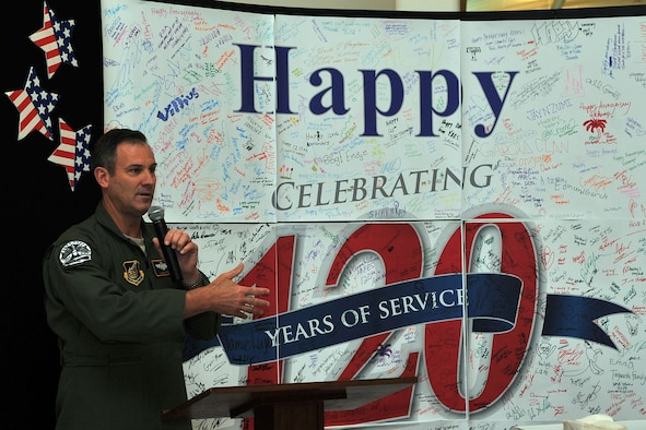 Brig. Gen. Andrew Toth, 36th Wing commander, delivers a speech July 25, 2015, at The Exchange at Andersen Air Force Base, Guam. The commander joined Exchange officials during a ceremony as they celebrated the 120th anniversary of the Army and Air Force Exchange Service. (U.S. Air Force photo by Tech. Sgt. Melissa B. White/Released