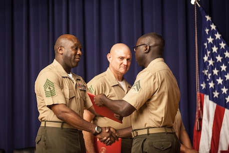 The Sergeant Major of the Marine Corps, Ronald L. Green, attends a Corporals Course graduation at Henderson Hall, Arlington, Va., July 24, 2015. (U.S. Marine Corps photo by Sgt. Melissa Marnell, Office of the Sergeant Major of the Marine Corps/Released)