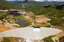 An aerial view of the Portugués Dam.