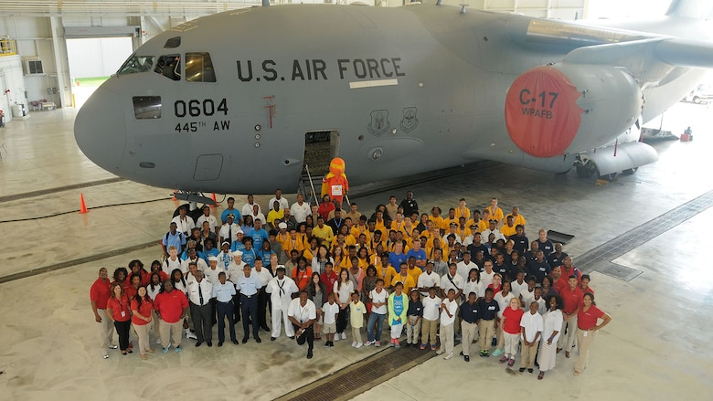 More than 180 students ages 14-18 and their chaperons visited the 445th Airlift Wing July 22, 2015 as part of the 16th Annual Delta Airlines sponsored Dream Flight program. Delta and the Organization of Black Aerospace Professionals flew the young aviation enthusiasts from Atlanta, Georgia, to Dayton, Ohio. The group visited with Airmen from the 445th AW then visited the National Museum of the United States Air Force. (U.S. Air Force photo/Tech. Sgt. Anthony Springer)