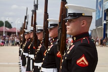 The United States Marine Corps Silent Drill Platoon performs at FedEx Field during the Washington Redskins' Military Appreciation Day in Hyattsville, Maryland, July 11, 2015. The Silent Drill Platoon travels across the country and the world showcasing close-order drill and the precision for which the Marine Corps is known. (U.S. Marine Corps photo by Sgt. Bryan Nygaard/Released)