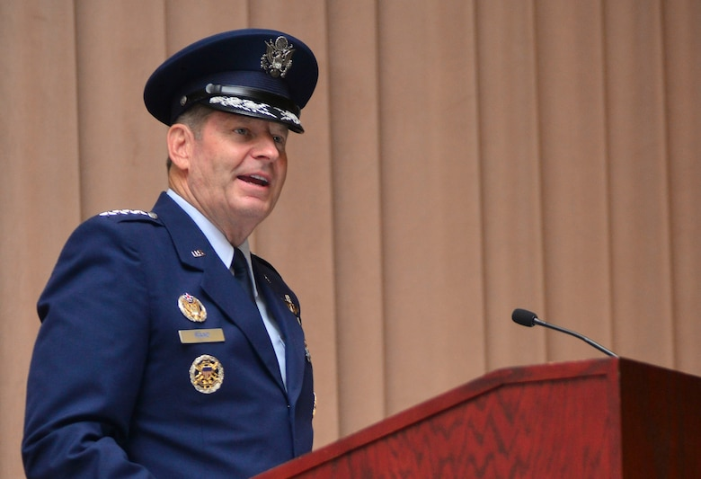 Gen. Robin Rand provides remarks after taking command of Air Force Global Strike Command during a ceremony at Barksdale Air Force Base, La., July 28, 2015. Rand said he will ensure AFGSC and its Airmen are ready to carry the nation's load of developing and providing combat ready forces for nuclear deterrence and conventional global strike operations. (U.S Air Force photo/Airman 1st Class Mozer O. Da Cunha)