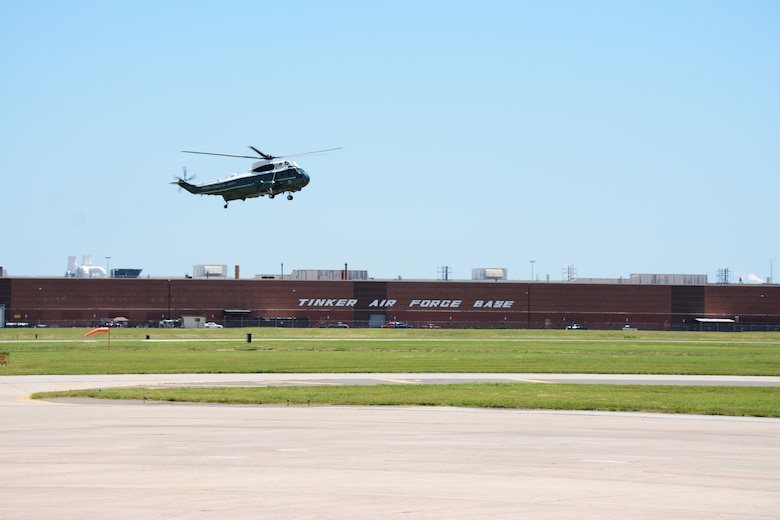 A VH-3D Sea King with Marine Helicopter Squadron One lands at Tinker Air Force Base, Okla. July 16, 2015. HMX-1 is the U.S. Marine Corps helicopter squadron responsible for the transportation of the President of the United States, Vice President, Cabinet members and other VIPs. (U.S. Air Force Photo/Staff Sgt. Lauren Gleason)