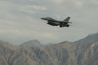 "A U.S. Air Force F-16 Fighting Falcon ""Triple Nickel"" aircraft assigned to the 555th Expeditionary Fighter Squadron from Aviano Air Base, Italy, takes off from Bagram Airfield, Afghanistan, July 28, 2015. The F-16 is a multi-role fighter aircraft that is highly maneuverable and has proven itself in air-to-air and air-to-ground combat. Members of the Triple Nickel are deployed in support of Operation Freedom's Sentinel and NATO's Resolute Support mission. (U.S. Air Force photo by Tech. Sgt. Joseph Swafford/Released)"