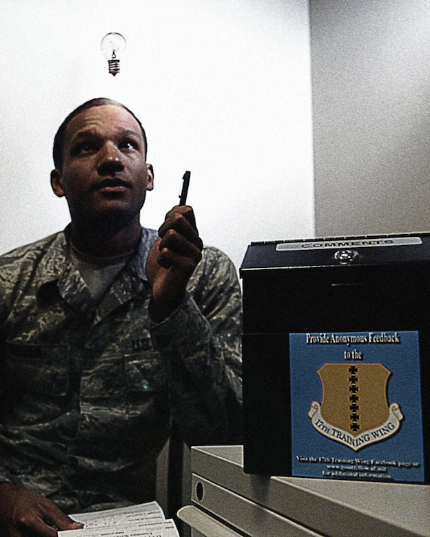 Comment boxes are located at various locations on Goodfellow Air Force Base for the purpose of empowering Airmen to provide anonymous feedback encouraging an environment of innovation, agility and professionalism. (U.S. Air Force Illustration by Tech. Sgt. Austin Knox/Released)