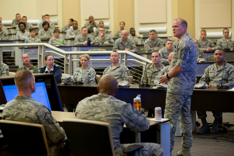 Chief Master Sergeant of the Air Force James A. Cody discusses issues facing the Air Force during an enlisted call for Airmen of the Air National Guard at Joint Base Andrews, Md., July 23, 2015. The discussion focused on professional military education, professional development and diversity. (Air National Guard photo/Master Sgt. Marvin R. Preston)