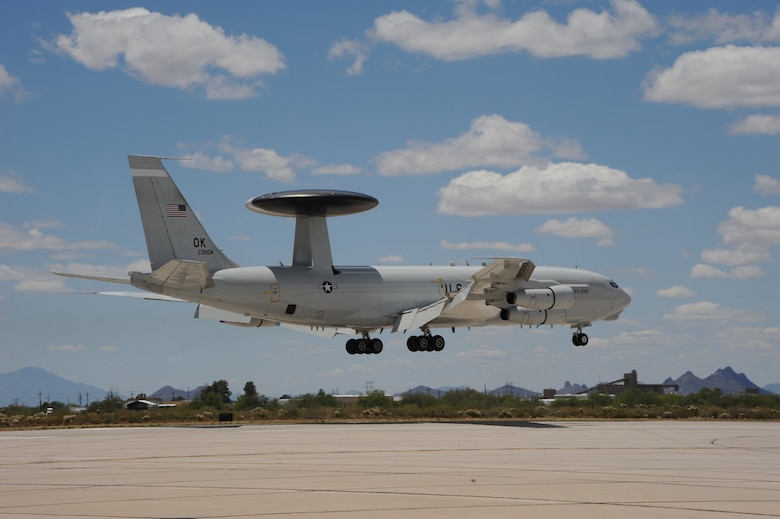 An E-3 Sentry AWACS from Tinker Air Force Base, Okla., prepares to land May 16, 2015. AWACS have the capability to detect enemy as well as friendly aircraft at great distances using an interrogation system. A program office from Hanscom AFB, Mass., is modernizing the aircraft by updating the current interrogation system. The first installation was completed in April. (U.S. Air Force photo/Senior Airman Betty R. Chevalier)