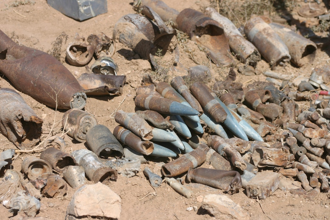 Examples of unexploded ordnance found at a FUDS site in New Mexico in 2012.