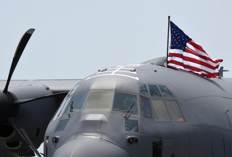 Air Force Special Operations Command receives its first AC-130J Ghostrider at Hurlburt Field, Fla., July 29, 2015. The AC-130J recently completed its initial developmental test and evaluation at Eglin Air Force Base, Fla., and will begin operational tests and evaluation by Airmen with the 1st Special Operations Group Detachment 2 and 1st Special Operations Aircraft Maintenance Squadron later this year. (U.S. Air Force photo by Airman Kai White/Released)