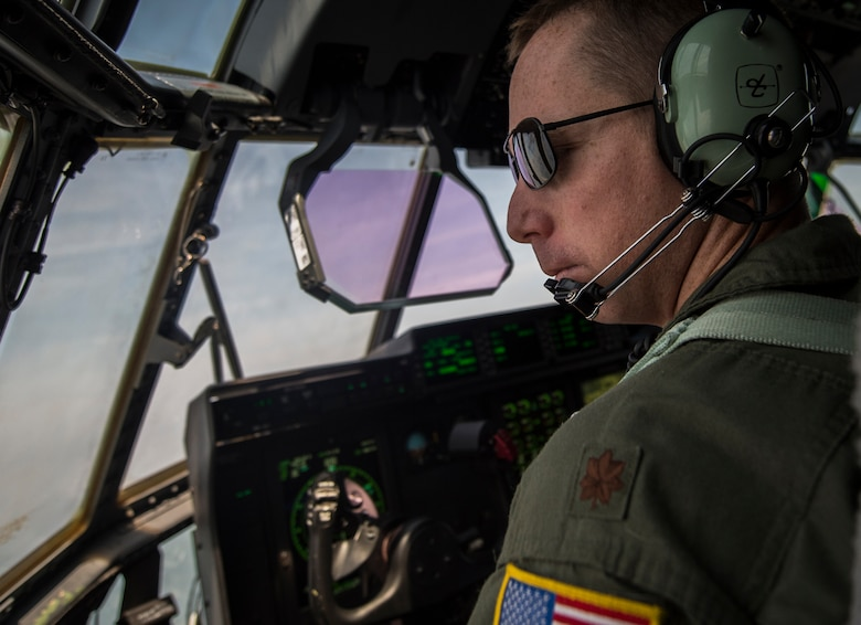 Maj. Jason Fox, 18th Flight Test Squadron pilot, delivers the Air Force Special Operations Commands first AC-130J Ghostrider to the 1st Special Operations Wing on Hurlburt Field, Fla., July 29, 2015. The AC-130J recently completed its initial developmental test and evaluation at Eglin Air Force Base, Fla., and will begin operational test and evaluation under aircrews of the 1st Special Operations Group Det. 2 and 1st Special Operations Aircraft Maintenance Squadron later this year. (U.S. Air Force photo/Senior Airman Christopher Callaway)