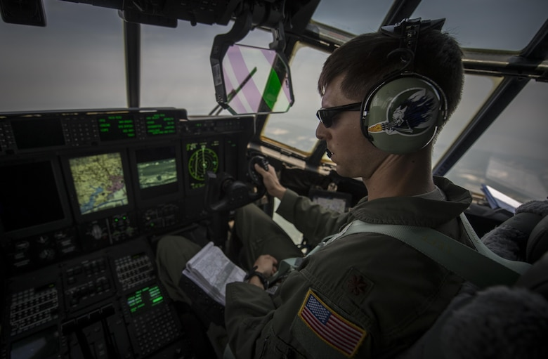 Maj. Brian Pesta, 1st Special Operations Group Detachment 2 co-pilot, delivers Air Force Special Operations Command's first AC-130J Ghostrider to the 1st Special Operations Wing on Hurlburt Field, Fla., July 29, 2015. The aircrews of the 1st SOG Det. 2 were hand selected from the AC-130 community for their operational expertise and will begin initial operational testing and evaluation of the AC-130J later this year. (U.S. Air Force photo/Senior Airman Christopher Callaway)