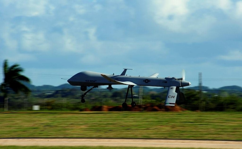 On Jan. 28, 2010, an RQ-1 Predator of 11th Reconnaissance Squadron takes off from Muniz, Puerto Rico, enroute to provide over watch during Operation Unified Response, the humanitarian response to a catastrophic earthquake in Haiti. The 11th RS celebrated the 20th anniversary of its activation at Indian Springs Air Force Auxiliary Field now Creech Air Force Base, Nevada, on July 29, 2015 as the U.S. Air Force's first Predator remotely piloted aircraft squadron. (Courtesy Photo)