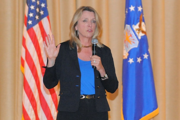 """Secretary of the Air Force, Deborah Lee James talks to Team Hill Airmen during an all-call Friday, July 24, at Hill Air Force Base, Utah. In her remarks, James thanked Hill personnel for the opportunity """"to see our Air Force in action."""" ( U.S. Air Force Photo by Todd Cromar/Released )"""