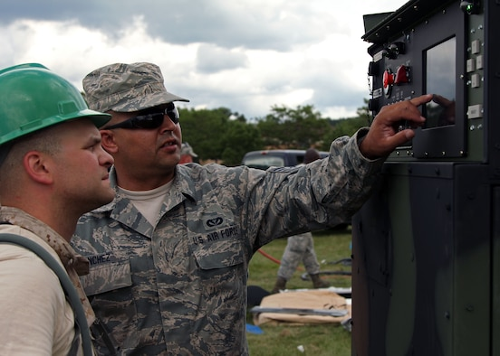 (L-R ) U.S. Air Force Staff Sgt Kevin Burch, a heating, ventilation, and air conditioning craftsmen and Staff Sgt Richard Sanchez, an electrical power production craftsmen, both assigned to the 127th Civil Engineer Squadron, Michigan Air National Guard, check the electrical power going to tents on an 806 generator at Volk Field Combat Readiness Training Center, Wis., during PATRIOT July 20, 2015. The annual PATRIOT Exercise is a domestic operations disaster-response training exercise conducted by National Guard units working with federal, state and local emergency management agencies and first responders. (U.S. Air National Guard photo by 2nd Lt. Benjamin Hughes/Released)