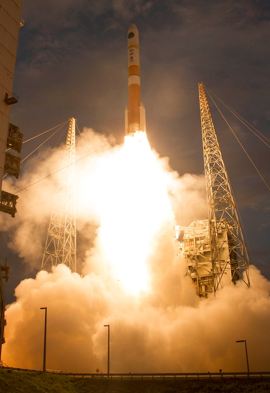 A Delta IV rocket carrying Wideband Global Satcom-7 aboard lifts off July 23, 2015, from Cape Canaveral Air Force Station, Fla. WGS is the nation's next-generation wideband satellite communications system supporting Soldiers, Sailors, Airmen, Marines and international partners around the world. (Courtesy photo/United Launch Alliance)