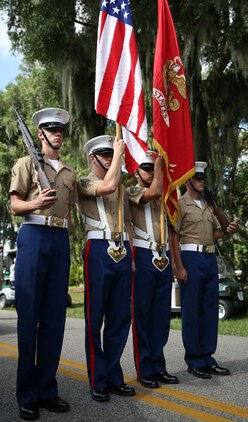 The Color Guard awaits the command to lead the Annual Beaufort Water Festival parade in downtown Beaufort July 25. Each year, Beaufort hosts local residents and visitors from across the state and country during the annual festival.