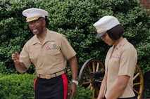 U.S. Marine Corps Lieutenant Gen. Ronald L. Bailey, the Deputy Commandant for Plans, Policies and Operations for the Marine Corps, tells a story about Maj. Lisa Lawrence's character and experience during her promotion ceremony at Marine Barracks Washington, D.C., June 6, 2015. Lawrence, a native of Houston, has served in the Marine Corps for 11 years as a public affairs officer, completing combat tours in both Iraq and Afghanistan. She currently serves as an officer selection officer for Recruiting Station Baltimore, where she is tasked with recruiting highly qualified men and women who desire to become Marine officers. (U.S. Marine Corps photo by Sgt. Bryan Nygaard/Released)