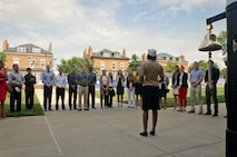 U.S. Marine Corps Maj. Lisa Lawrence speaks to her friends, fellow Marines, and Marine officer candidates during her promotion ceremony at Marine Barracks Washington, D.C., June 6, 2015. Lawrence, a native of Houston, has served in the Marine Corps for 11 years as a public affairs officer, completing combat tours in both Iraq and Afghanistan. She currently serves as an officer selection officer for Recruiting Station Baltimore, where she is tasked with recruiting highly qualified men and women who desire to become Marine officers. (U.S. Marine Corps photo by Sgt. Bryan Nygaard/Released)