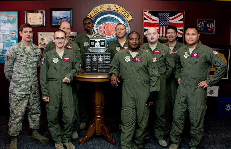 Airmen from the 9th Air Refueling Squadron gather around the Albert L. Evans trophy July 23, 2015. The annual award is presented to the most outstanding air refueling section in the Air Force. (U.S. Air Force photo by Senior Airman Charles Rivezzo)