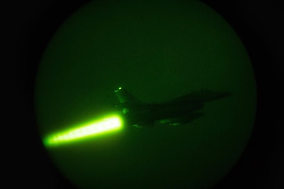 "A U.S. Air Force F-16 Fighting Falcon ""Triple Nickel"" aircraft assigned to the 555th Expeditionary Fighter Squadron from Aviano Air Base, Italy, takes off on a night combat sortie from Bagram Airfield, Afghanistan, July 28, 2015. The F-16 is a multi-role fighter aircraft that is highly maneuverable and has proven itself in air-to-air and air-to-ground combat. Members of the Triple Nickel are deployed in support of Operation Freedom's Sentinel and NATO's Resolute Support mission. (U.S. Air Force photo by Tech. Sgt. Joseph Swafford/Released)"