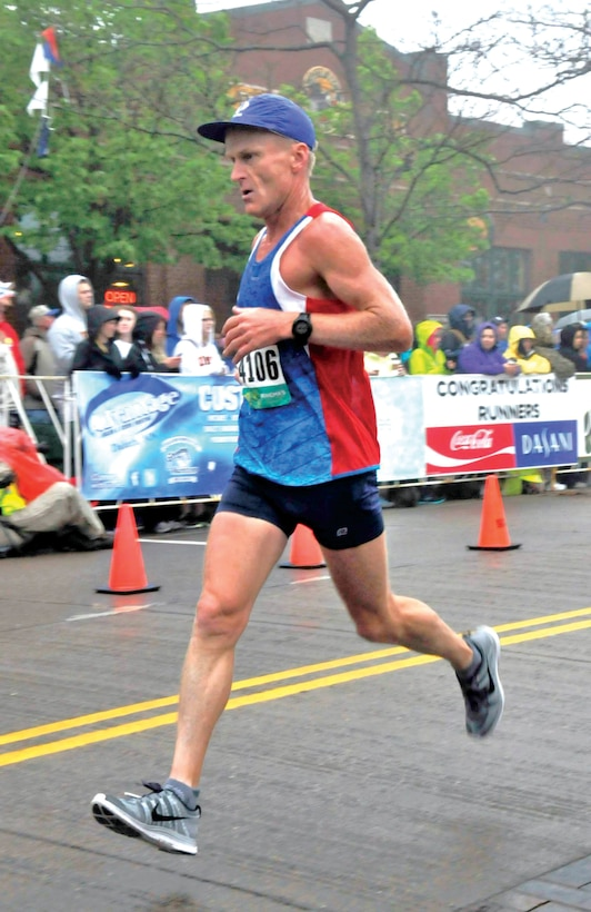 """On his Boston Marathon qualifying run at Grandma's Marathon, Chamberlain says, """"I took it pretty easy the first 22 miles to Lemon Drop Hill and then just ran hard. My pace the last 4 miles was 5:45."""