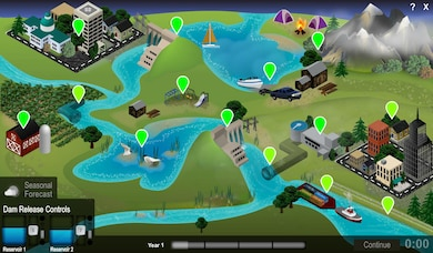 The River Basin Balancer Game offers insight into an inland waterway and a system of reservoirs, which are operated with a goal for serving each of the benefits, flood control, navigation, hydropower, irrigation, water supply, recreation, fish and wildlife, and water quality, for which many USACE reservoirs are authorized and constructed. Users can take charge of river operations and experience the unique challenges presented when managing reservoir operations in a variety of weather conditions across a geographically diverse basin.