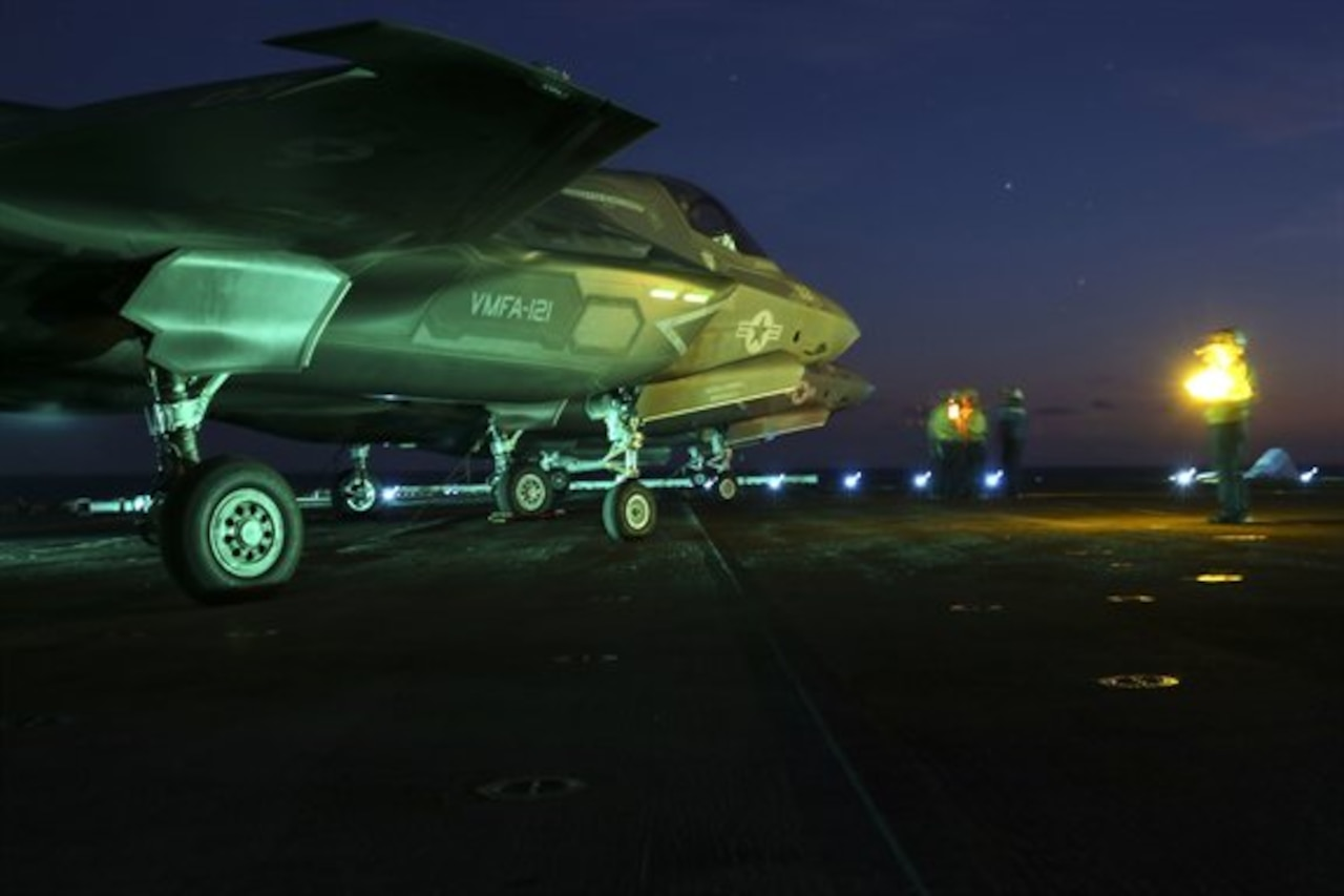 An F-35B Lightning II prepares to taxi on the flight deck of the USS Wasp during night operations at sea as part of a Marine Corps operational test, May, 22, 2015. U.S. Marine Corps photo by Cpl. Anne K. Henry