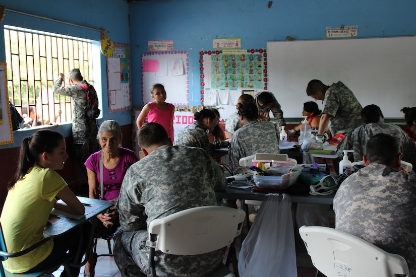 People from all ages received personalized medical care during a two -day Medical Readiness Training Exercise in the Ramon Ortega School located in Las Liconas, Comayagua, July 29, 2015. Each room in the school was divided into different services, to include a room for women's health, a pharmacy, and dental care clinic.  (U.S. Army photo by Maria José Pinel)
