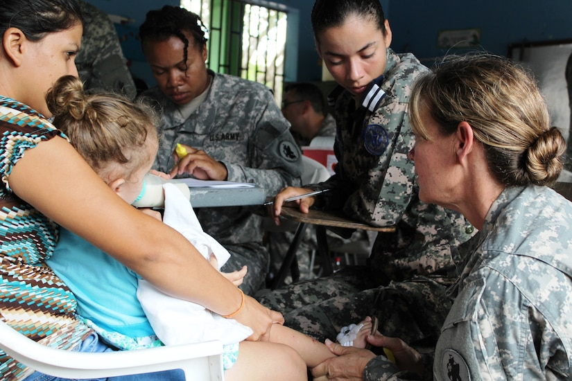 Members from JTF-Bravo's Medical Element and Honduran Air Force Medical Department worked in coordination with the Honduran Ministry of Health to carry out a two- day Medical Readiness Training Exercise  in Las Liconas, Comayagua. These exercises help U.S. service members by validating their ability to respond under different working environments while providing medical services for local communities throughout Central America. (U.S. Army photo by Maria José Pinel)