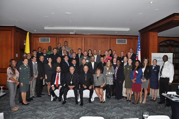 A group photo of who attended the three-day symposium in Bogota, Colombia, July 13-16.  The symposium was an opportunity to share with other Nations ideas on how religion matters to military commanders, service members and their families.