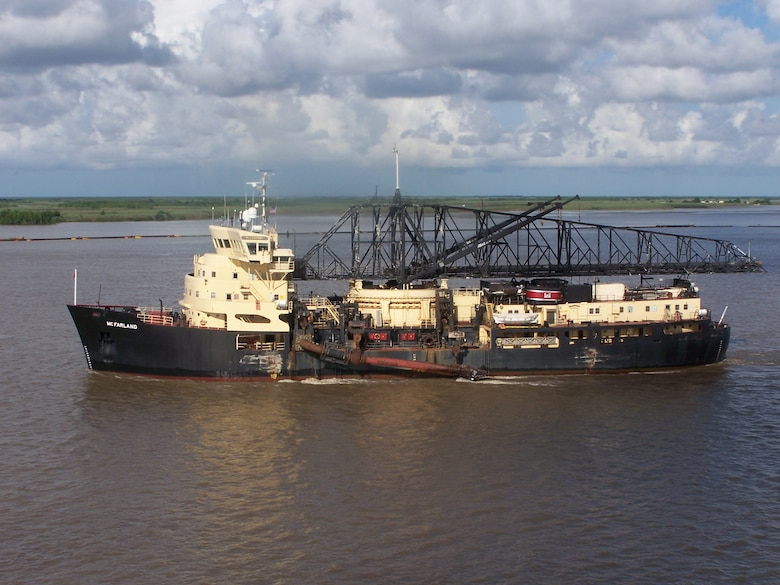The McFarland, a deep-draft hopper dredge owned and operated by USACE Philadelphia District, conducted urgent dredging for 62 days on the Southwest Pass of the Mississippi River starting in late March of 2015. The dredge was called upon because high stages impacted navigation along the Mississippi River.