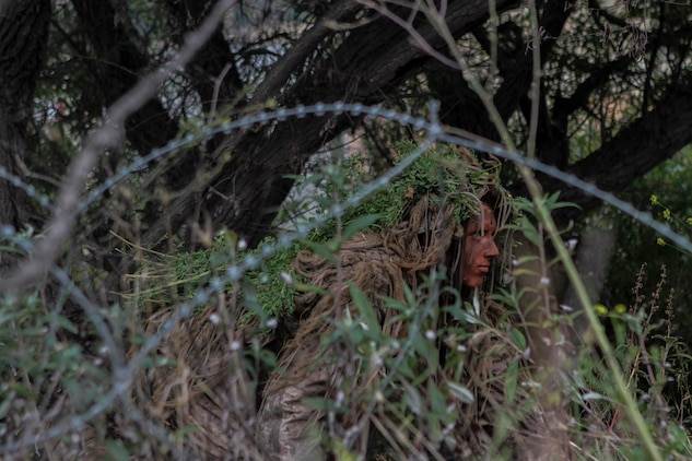 A Marine with 1st Marine Division, 7th Marine Regiment participates in stalking training aboard Marine Corps Base, Camp Pendleton, Calif., May 27, 2015. The training was the last event during Division School's 6-week-long Pre-Scout Sniper Course. (Photo by LCpl. Danielle Rodrigues/Released)
