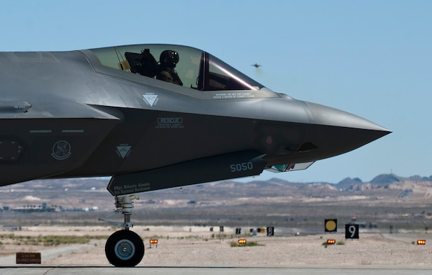 A Luke Air Force Base F-35A Lightning II stands by to take off at Nellis Air Force Base, Nev., April 15, 2015. (U.S. Air Force photo/Senior Airman Thomas Spangler)