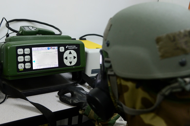 Staff Sgt. Steven Staab, 51st Aerospace Medicine Squadron NCO in charge of radiation, review the results the HAPSITE ER Chemical Identification System gave during Operational Readiness Exercise Beverly Midnight 15-1 March 4, 2015, at Osan Air Base, Republic of Korea. The HAPSITE ER is use to test the air for any chemical contamination. (U.S. Air Force photo by Senior Airman Matthew Lancaster)