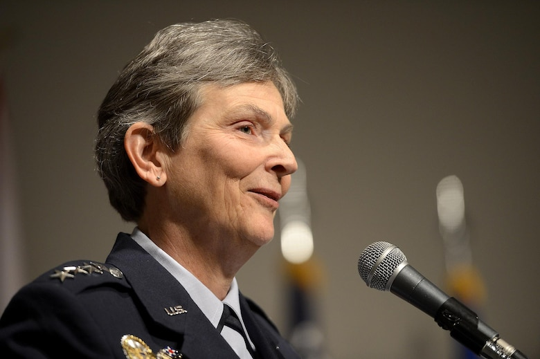 Gen. Ellen M. Pawlikowski speaks during her promotion ceremony June 1, 2015, at the Women's Memorial for Military Service in Arlington National Cemetery, Virginia. Pawlikowski is slated to become the commander of Air Force Materiel Command at Wright-Patterson Air Force Base, Ohio. (U.S. Air Force photo/Scott M. Ash)