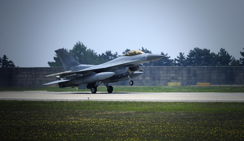 A South Korean air force F-16 Fighting Falcon from the 123rd Tactical Fighter Squadron arrives at Kunsan Air Base, South Korea, for exercise Buddy Wing 15-4, June 1, 2015. South Korean pilots routinely train with U.S. Air Force pilots to enhance interoperability and sharpen their combined airpower skills during Buddy Wing exercises multiple times throughout the year. (U.S. Air Force photo/Staff Sgt. Nick Wilson)
