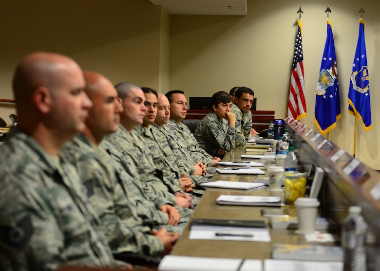 Technical and staff sergeants from Air Force Global Strike Command listen to some of the military's top leaders at Striker Stripe, a leadership development conference on Barksdale Air Force Base, La., May 27, 2015. About 40 NCOs from AFGSC attended the conference where they enhance their leadership techniques. (U.S. Air Force photo/Airman 1st Class Luke Hill)