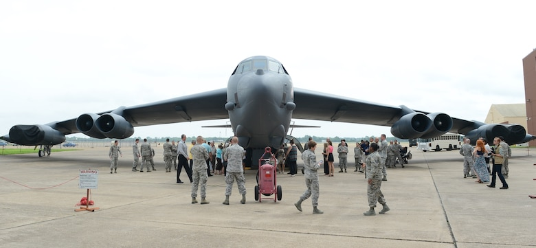 Attendees of the Striker Stripe, a leadership development conference, tour a B-52H Stratofortress on Barksdale Air Force Base, La., May 29, 2015. Striker Stripe gathers a select few staff and technical sergeants from across Air Force Global Strike Command to meet with senior leaders and engage with experienced professionals and each other. (U.S. Air Force photo/Senior Airman Benjamin Gonsier)