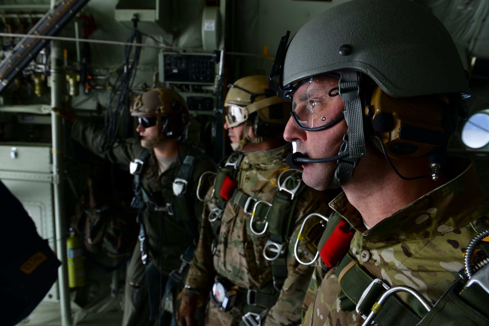 Operators from U.S. Special Operations Command -- Europe prepare for a high-altitude, low-opening jump May 30, 2015, over Mont Saint-Michele, France. The paratroopers jumped from an MC-130J Commando II assigned to the 67th Special Operations Squadron from as high as 13,000 feet to commemorate the 71st anniversary of the liberation of France during World War II. (U.S. Air Force photo by Staff Sgt. Micaiah Anthony)