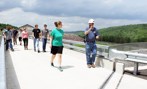 USACE Philadelphia District Dam & Levee Safety Manager Bruce Rogers conducts a tour with students from the Wallenpaupack High School Emergency Responders Club during a dam safety awareness event in May of 2015.