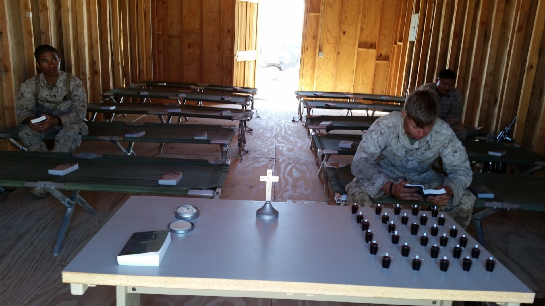 LFT to RT: Protestant Service: LCpl Tobia, LCpl Alex Roberts, HM1 Jasper Montes