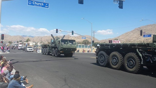 CLB-7 Marines (Sgt McCaurth, Cpl Bowen, Cpl Upchurch, Cpl Reum, PFC Plascencia, PFC Miller and PFC Ramos) participated in the Grubstake Parade in Yucca Valley on 23 May 2015.