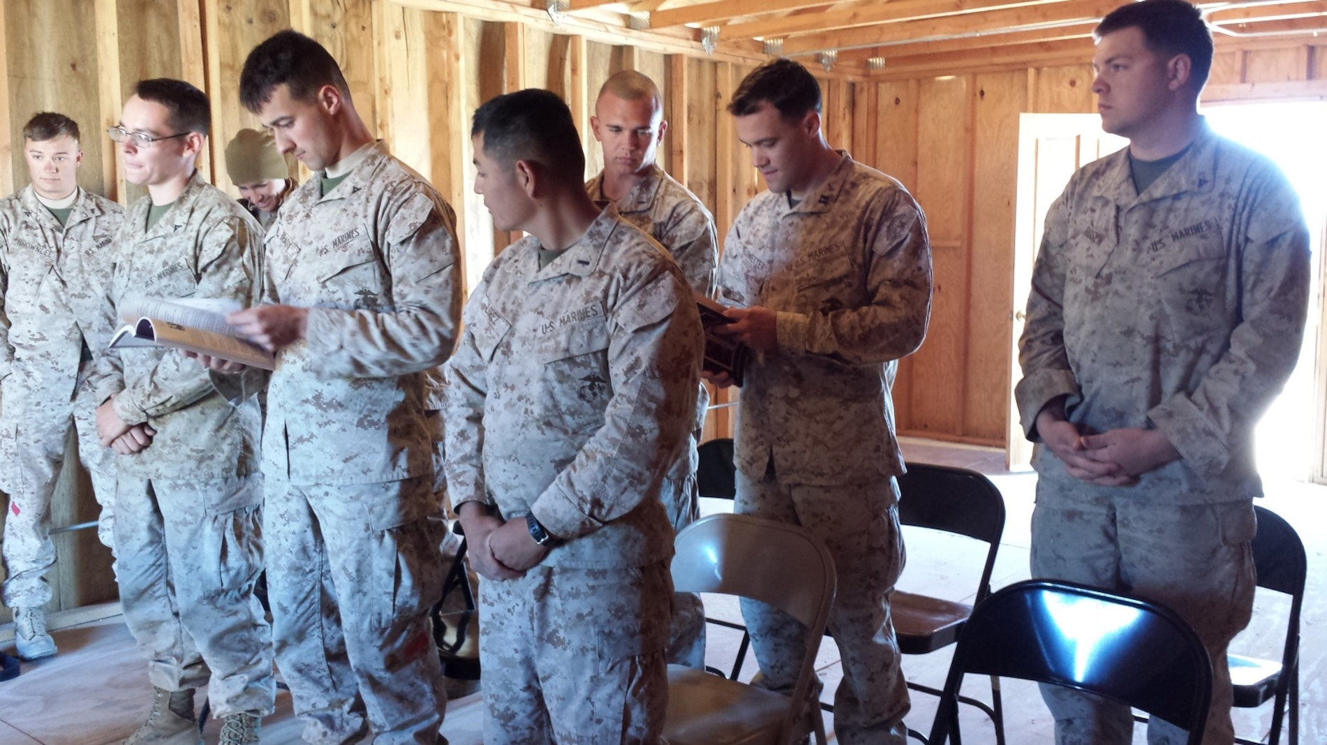 LFT to RT: LCpl Brownlee, LCpl Hurla, Lt Danielle Anderson, LCpl Brady, 1st Lt Heriberto Lopez, 1st Lt A.J. Gerdes, Capt David Huewetter, LCpl Rosen