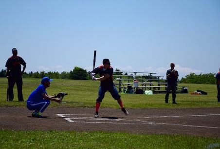 Sgt Lefevers, Camp Fuji, at bat during the softball game at the 1st Annual Camp Fuji