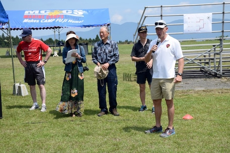 Col Fullwood announcing the winners of the 1st Annual Camp Fuji - JGSDF - Fuji Friendship Association Sports Tournament.