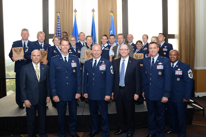 Air National Guard leadership and honorees pose at the 13th annual Air Force Association's Salute to the Air National Guard, held June 1 in Arlington, Virginia. The AFA's D. W. Steele Sr. Memorial Chapter honored 16 ANG members across a broad range of specialties for their dedication and outstanding contributions to the success of the ANG and the overall Air Force mission. (US Air National Guard photo by Staff Sgt. John E. Hillier/Released)