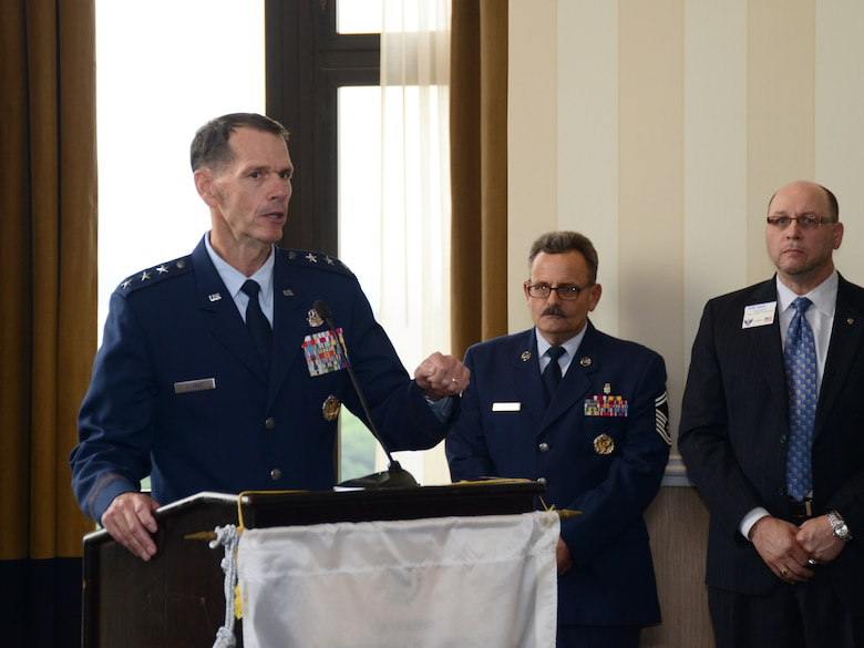 Director of the Air National Guard, Lt. Gen. Stanley E. Clarke III, outlines the numerous contributions that ANG members make to national defense every day at the Air Force Association's 13th annual Salute to the Air National Guard, held June 1 in Arlington, Virginia. The AFA honored 16 ANG members across a broad range of specialties for their dedication and outstanding contributions to the success of the ANG and the overall Air Force mission. (US Air National Guard photo by Staff Sgt. John E. Hillier/Released)