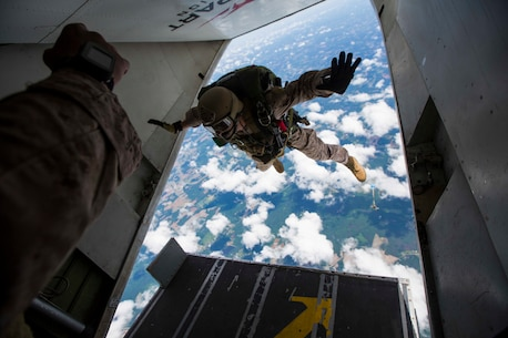 U.S. Marines assigned to Force Reconnaissance Platoon, Maritime Raid Force, 26th Marine Expeditionary Unit (MEU), conduct a high altitude low opening (HALO) jump during category 3 sustainment training in Louisburg, N.C., June 2, 2015. The training allowed the Marines to practice proper techniques and procedures while in preparation for deployment to the 5th and 6th Fleet area of responsibility later this year. (U.S. Marine Corps photo by Cpl. Andre Dakis/26th MEU Combat Camera/Released)