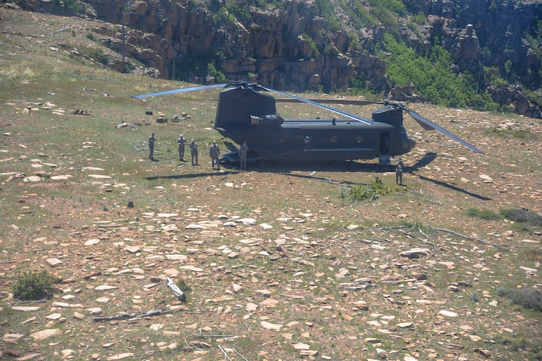 U.S. Army Soldiers monitor the landing area of a CH-47D Chinook during Angel Thunder 2015 at Mongollon Rim, Ariz., June 3, 2015. Angel Thunder is the largest personnel recovery exercise in the world combining joint, coalition and interagency personnel. Participants will train through the full spectrum of personnel recovery capabilities with numerous types of aircraft. (U.S. Air Force photo by Senior Airman Betty R. Chevalier/Released)